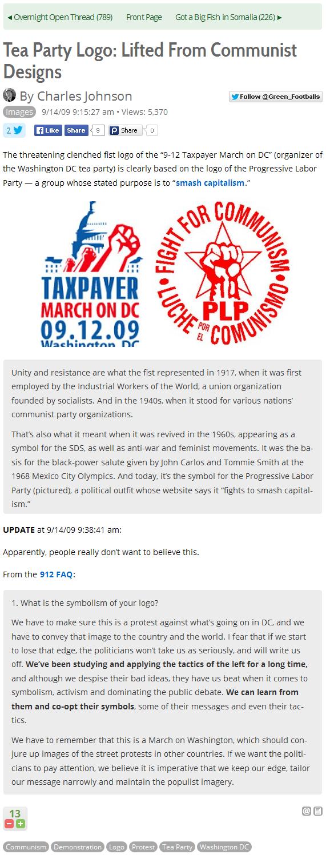 Tea Party Logo = Communist