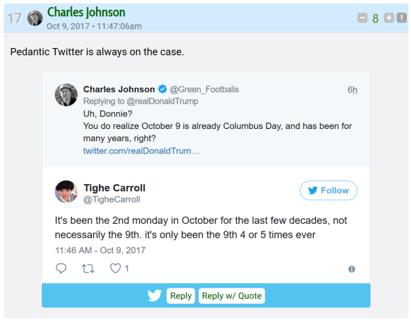 Happy columbus day charles johnsons magical jazzy ponytail rocks johnson attacks and dismisses the polite woman as pedantic charles youre not the brightest bulb in the garlic patch by your own definition aloadofball Image collections