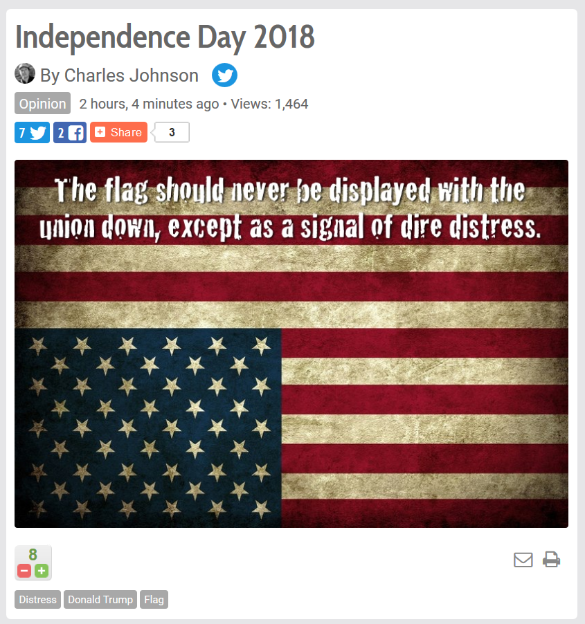 Independence Day 2018 And Charles Johnson Is In Distress The